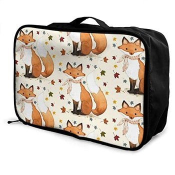 [해외] [Foldable Travel Duffel Bag Fall Fox Tote Carry - 짐 더프 뉴스 주간 홈 트롤리 슬리브, 소 (Autumn Fox, 15X6X11 Inch)]