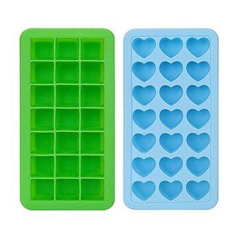 [해외] [덮개 덮개, 덮개, 2 평방 및 하트 모양의 실리콘 21 아이스 큐브 냉동 음료, 위스키 및 칵테일, 파란색  녹색을위한 아이스 큐브 금형 제조 업체에 반복적으로 방출 될 수 있습]