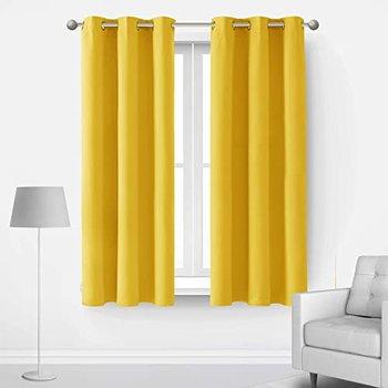 [해외] [룸 어두워진 블랙 아웃 커튼 그로밋 빛 차단 에너지 절약 창 커튼 패널 2 각 커튼 42x63 인치 부드러운 노란색 세트 (42Wx63L Inch, Mellow Yellow)]