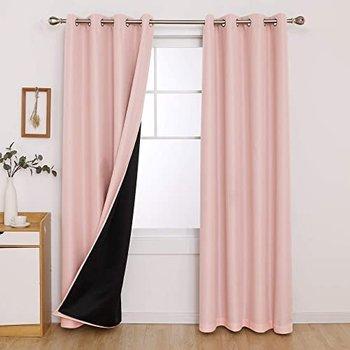 [해외] [침실 커튼 룸 어두워진 방음 더블 레이어 핑크 커튼 침실 소녀 52x95 인치 핑크 2 패널 (52x95 Inch, Pink)]