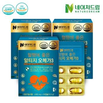 [조아제약]네이처드림 혈행에 좋은 알티지 오메가3 1050mg x 30캡슐 3박스